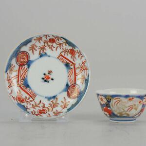 "18C Japanese Porcelain Cup & Saucer Birds Imari 'Flowers"" Antique Edo Pe..."