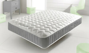 Image Is Loading New Grey Memory Foam Topped Sprung Mattress 3ft