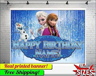 Frozen Hintergrund Personalisierte Happy Birthday Party Vinyl Banner Custom Name Ebay