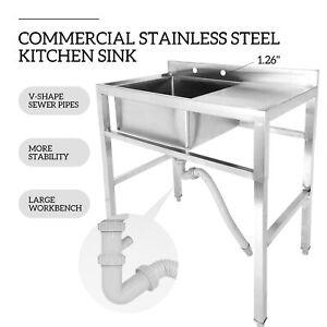 detalles acerca de 1 compartment stainless steel prep sink utility sink kitchen sink w drain board