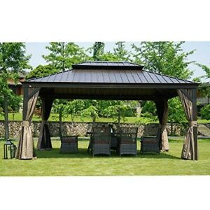 details about permanent gazebo hardtop aluminum frame 12 x 16 outdoor patio mosquito netting
