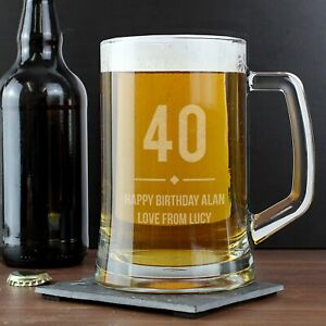 Personalised Tankard Beer Glass Any Age 18th 21st Birthday Gift For Him Uk Ebay