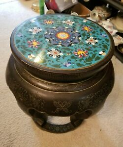 Antique Chinese Cloisonne Lacquered Plant Stand Garden Seat Stool