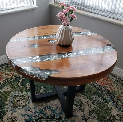 river coffee table small vintage furniture rustic side end round glass resin 741030995590 ebay