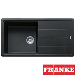 details about franke basis 1 0 bowl granite onyx black kitchen sink waste