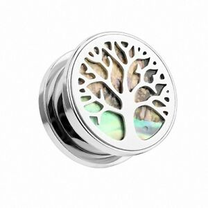 Flesh Ohr Tunnel Piercing Lebensbaum Perlmutt Inlay Tree of Life Vintage