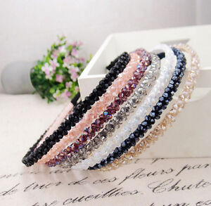 2017 Korean Girl Fashion Crystal Tiaras Handmade Beaded Hair Band     Image is loading 2017 Korean Girl Fashion Crystal Tiaras Handmade Beaded