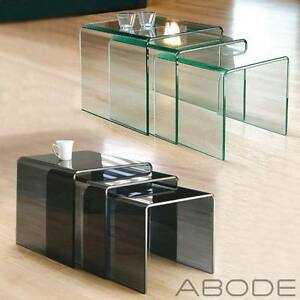 details about new milan set of 3 bent glass nest of side tables coffee set curved