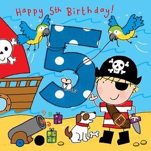 5 Year Old Card Age 5 Card 5th Birthday Card For Boy Boy Age 5 Card Pirate Ebay