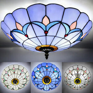 Mission Flush Mount Light Tiffany Stained Glass Ceiling Chandelier Lighting Lamp EBay