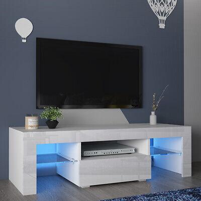 110cm white tv cabinet stand high gloss 1 drawer glass 2 shelve storage led unit ebay