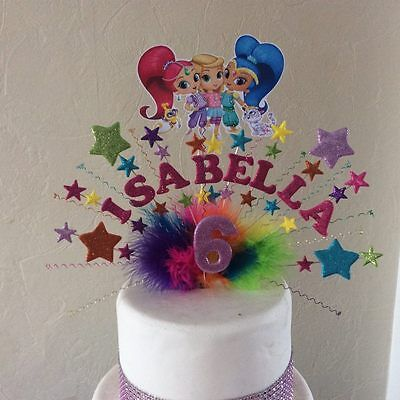 Shimmer And Shine Cake Topper Made With Your Choice Of Name And Age Ebay