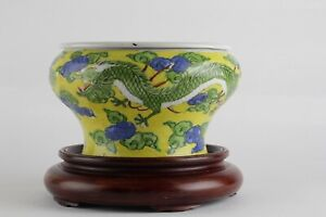 LARGE ANTIQUE CHINESE FLOWER POT DRAGON AND CLOUDS 19 20TH CENTURY KANGXI STYLE
