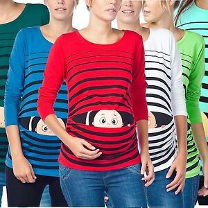 Damen Umstands Oberteil Top T Shirt Umstandsmode T Shirt Mit Motiv