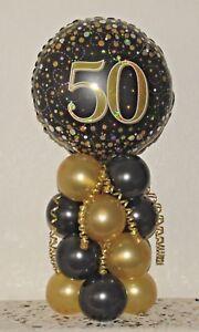 50th Birthday Age 50 Foil Balloon Display Table Centrepiece Decoration Ebay
