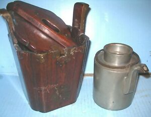 LATE 19TH CENTURY CHINESE PEWTER TEAPOT SIGNED in Org Wooden Concealment Box