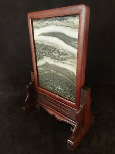 Antique Chinese Dali Marble Yin Pin. Huanghuali. Signed screen 19th/20th century