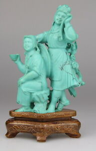 Antique Chinese Carved Turquoise Statue Figure Girl Republic Wood Stand