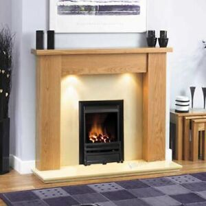 Gas Oak Surround Wall Cream Marble Stone Black Fire Fireplace Suite Lights 54 Ebay