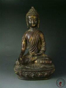 Large Antique Old Chinese Tibet Gilt Bronze Tibetan Buddha Sakyamuni Statue Ming