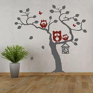 details sur sticker mural arbre avec des hiboux trio paul emil lotte chouette muraux