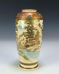 Antique Japanese Satsuma Pottery Vase with Continuous Landscape