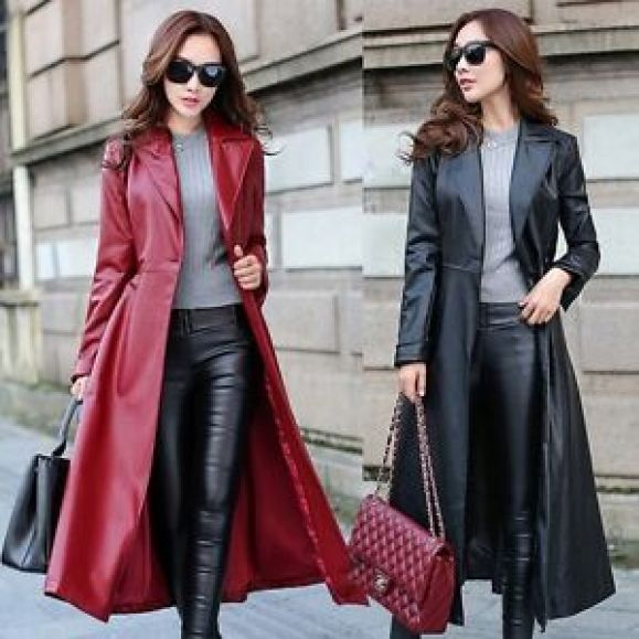 New Fashion Lady Women Maxi Full Length Faux Leather Trench Coat ...