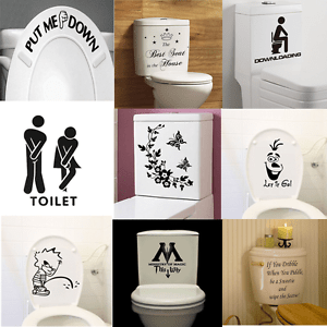 Quote Bathroom Decor Art Wall Stickers Toilet Seat Removable Decal Mural DIY
