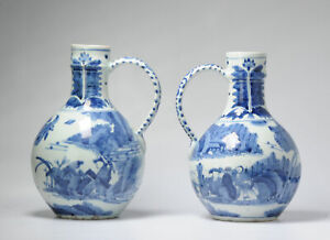 Pair 17th century Japanese Porcelain Figural Jugs Blue White Dish Antique