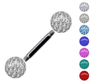 NEU Zungenpiercing EPOXY KRISTALLKUGEL TITAN G23 Barbell Piercing Stecker Zunge