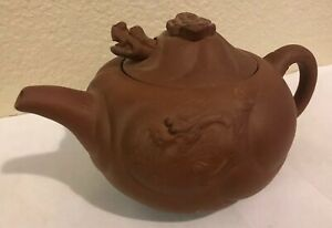 Antique Vintage Signed Marked Asian Chinese Yixing Clay Figural Dragon Teapot