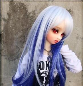 7 8 hair 1 4 bjd long wig mini super dollfie msd white blue aod dod dk dz dl af ebay
