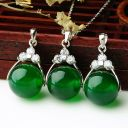 12mm Emerald Agate Bead Pendant Elegant Chalcedony Necklace Bead for Girls Woman