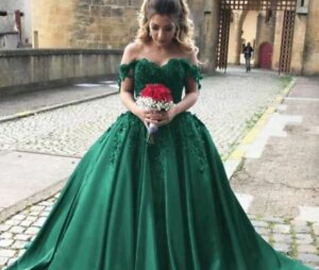 Image Is Loading Emerald Green Puffy Prom Dress With Lace Sequins