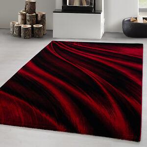 details sur tapis de salon moderne design abstrait vagues modele noir rouge oeko tex