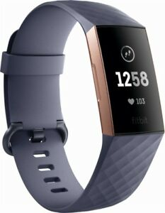 Fitbit FB409RGGY Charge 3 Activity Tracker + Heart Rate, Blue Gray/Rose Gold