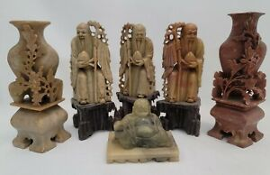Collection Of 6 Vintage Chinese Soapstone Figures Vase Buddha Scholar