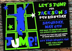 Trampoline Birthday Party Invitation Digital File Customize Colors Free Ship Ebay