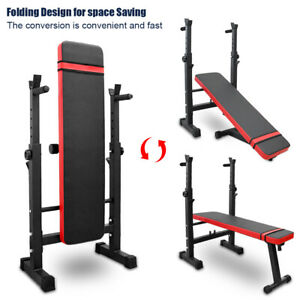 details about adjustable folding sit up weight bench press barbell rack dip station lifting