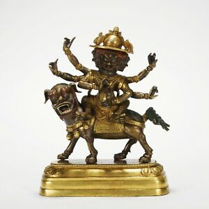 Antique Chinese Gilt Bronze Figure and Animal Statue