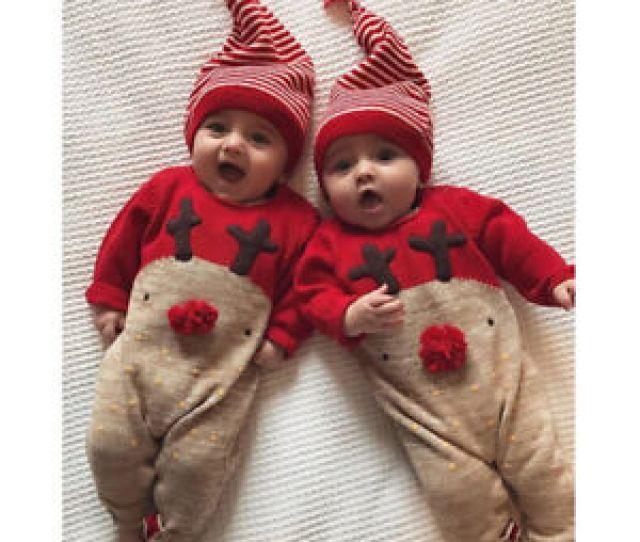 Christmas Newborn Baby Boy Girl Deer Romper Jumpsuit