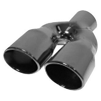 st0792 2 25 x 9 dual rolled black chrome exhaust tip