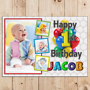 Personalised Happy First 1st Birthday Poster Banner Print N106 Any Age 2nd 3rd Ebay