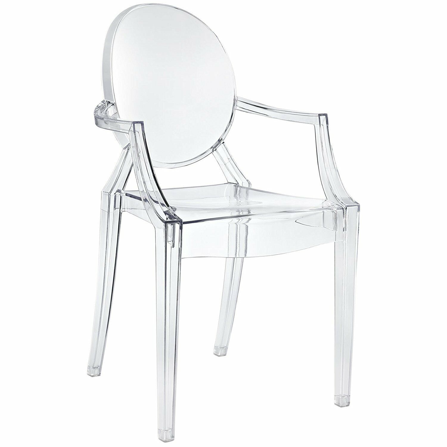 Clear Plastic Arm Chair In Out Door Stackable Dining Room Seat Kitchen Furniture