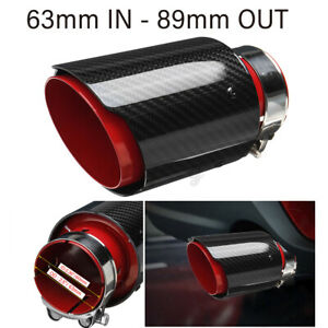 details about 2 5 63mm 89mm red glossy carbon fiber exhaust tips universal car exhaust pipe