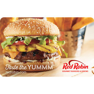 Red Robin Gift Card - $25 $50 or $100 - Email delivery