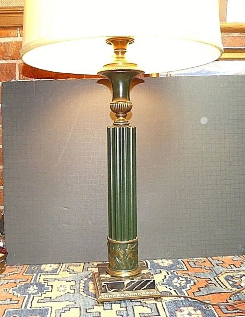 Vintage Cold Cast Brass Fluted Column Greco Wrestling Marble Base Table Lamp Wow Ebay