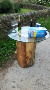 details about solid oak live edge tree trunk table with 10mm plate glass top look at my stuff