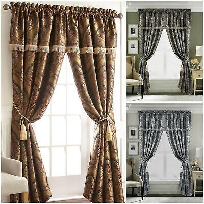 chezmoi collection seville 2 panel jacquard paisley window curtain set ebay