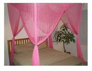 details about hot pink four 4 post bed canopy netting curtains sheer panel fabric any size